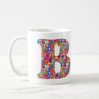 Monograma llenado corazón dinámico colorido de la taza de café