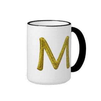 Monograma M del brillo del oro Taza De Dos Colores