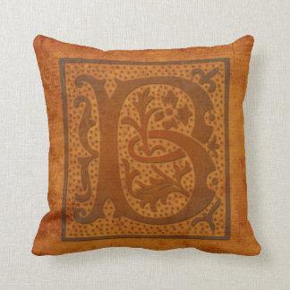 ¡Monograma magnífico de B/almohada vieja de la Cojín Decorativo