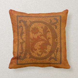 ¡Monograma magnífico de D/almohada vieja de la Cojín Decorativo