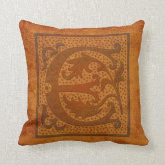 ¡Monograma magnífico de E/almohada vieja de la Cojín Decorativo