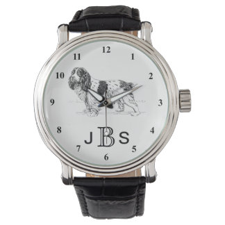 Monograma masculino inglés del perro de aguas de reloj de pulsera