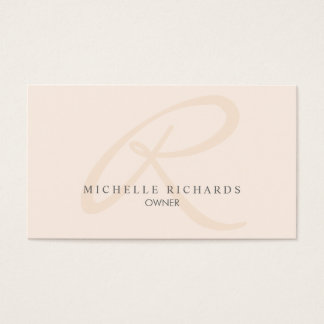 Monograma minimalista elegante rosado del susurro tarjeta de negocios