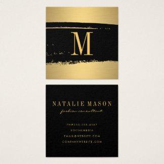 Monograma minimalista moderno en el negro/el oro tarjeta de visita cuadrada