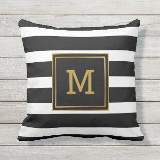 monograma moderno del oro blanco y negro de la cojn decorativo