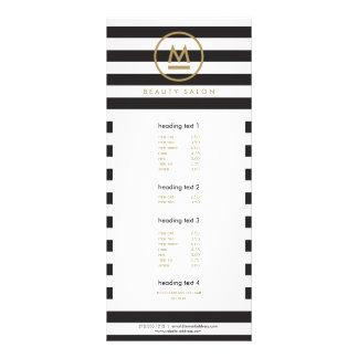 Monograma moderno inicial grande en rayas tarjeta publicitaria