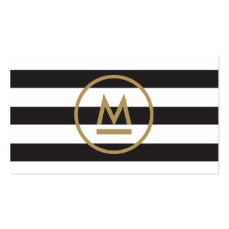 Monograma moderno inicial grande en rayas tarjetas de visita