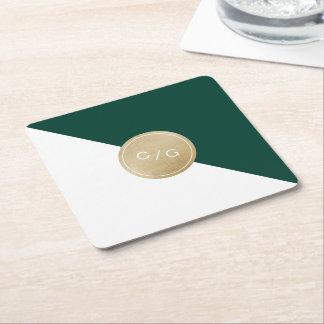 Monograma moderno minimalista del boda del verde posavaso cuadrado de cartón