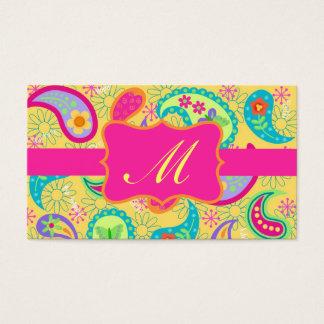 Monograma moderno rosado fucsia amarillo de tarjeta de visita