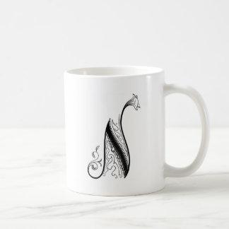 Monograma N del vintage en blanco y negro Tazas De Café