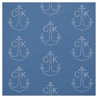 Monograma náutico del ancla blanca del vintage tela