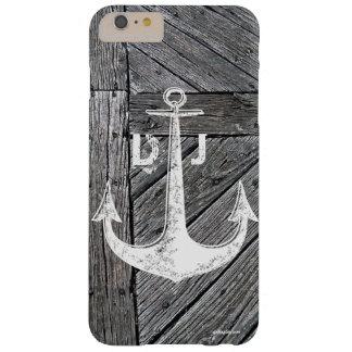 Monograma náutico del ancla de madera rústica del funda barely there iPhone 6 plus