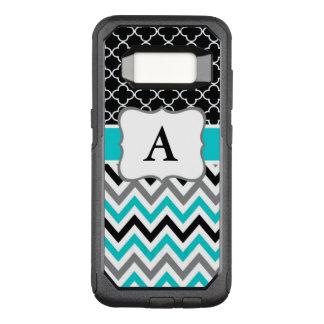 Monograma negro de Chevron del trullo Funda Otterbox Commuter Para Samsung Galaxy S8