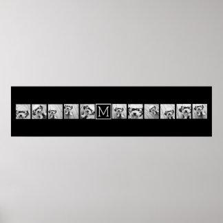 Monograma negro de encargo del collage de poster