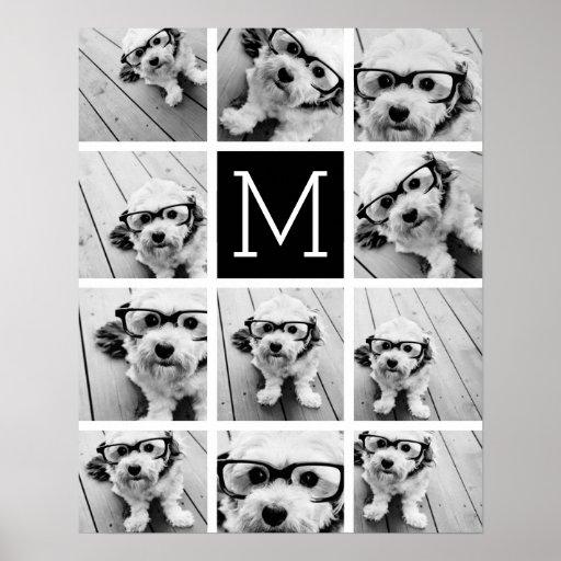 Monograma negro de encargo del collage de impresiones