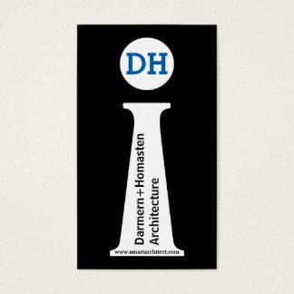 Monograma negro del arquitecto, blanco, azul tarjeta de visita