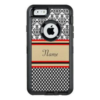 Monograma negro del damasco funda OtterBox defender para iPhone 6