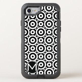 Monograma negro del disco funda OtterBox defender para iPhone 7