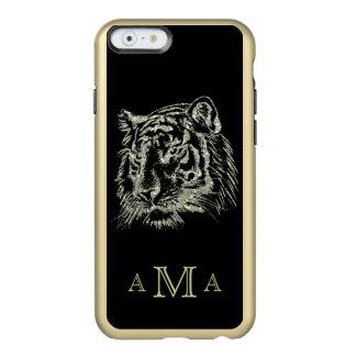 Monograma negro del tigre del oro funda para iPhone 6 plus incipio feather shine