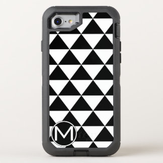 Monograma negro del triángulo funda OtterBox defender para iPhone 7