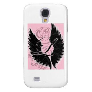 Monograma negro L letra negra del ala Carcasa Para Galaxy S4