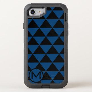 Monograma negro y azul del triángulo funda OtterBox defender para iPhone 8/7