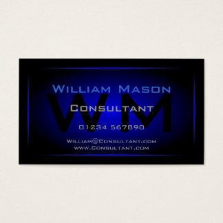 Monograma negro y azul marino fresco - tarjeta de