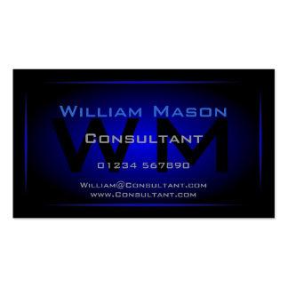 Monograma negro y azul marino fresco - tarjeta de  tarjetas de visita