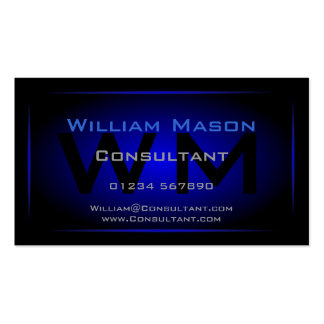 Monograma negro y azul marino fresco - tarjeta de  plantillas de tarjetas de visita