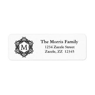 Monograma negro y blanco del marco ornamental etiqueta de remitente