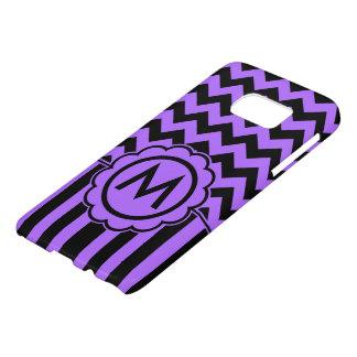 Monograma negro y púrpura de Chevron Funda Samsung Galaxy S7