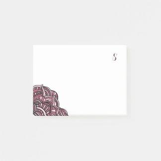 Monograma negro y púrpura del medallón notas post-it®