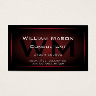 Monograma negro y rojo enmarcado - tarjeta de