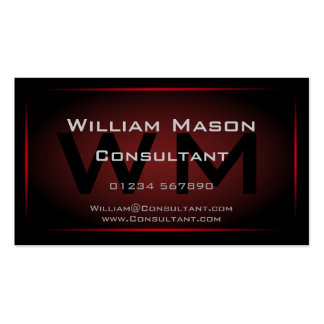 Monograma negro y rojo enmarcado - tarjeta de visi tarjetas personales