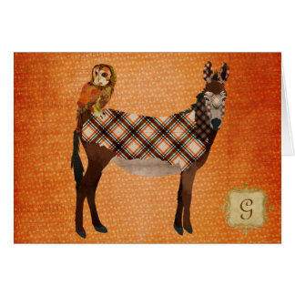 Monograma Notecard del burro y del búho de la tela Tarjeta Pequeña
