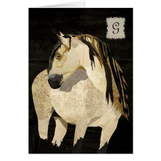 Monograma Notecard del caballo blanco Felicitacion