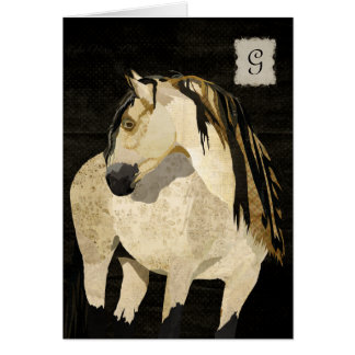 Monograma Notecard del caballo blanco Tarjeta Pequeña