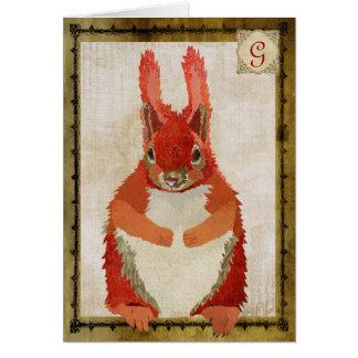 Monograma Notecard del vintage de la ardilla roja Tarjeta Pequeña