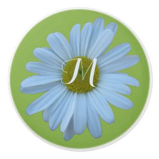 Monograma opcional del tema floral del verdor de pomo de cerámica