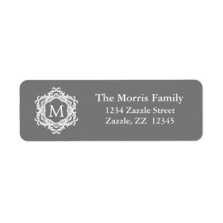 Monograma ornamental decorativo del blanco gris etiqueta de remite