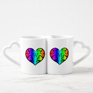 Monograma personalizado corazón lindo del arco set de tazas de café