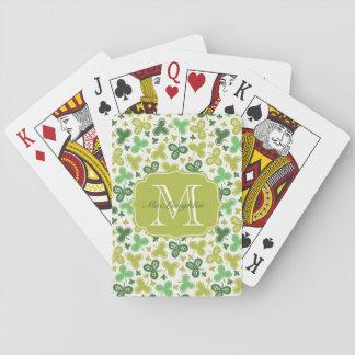Monograma personalizado del trébol barajas de cartas