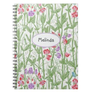 Monograma personalizado estampado de flores del libro de apuntes
