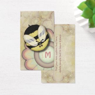 Monograma personalizado feliz de la abeja tarjeta de visita