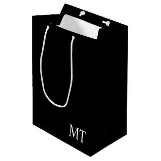 Monograma personalizado moderno bolsa de regalo mediana