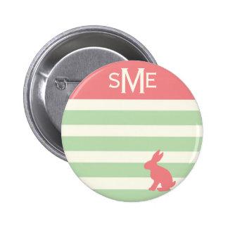 Monograma personalizado raya linda del conejo chapa redonda de 5 cm