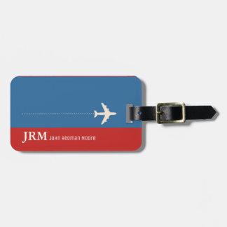 monograma personalizado viaje rojo y del azul/del etiqueta para maletas