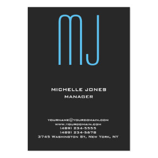 Monograma profesional azul gris único de moda tarjetas de visita grandes
