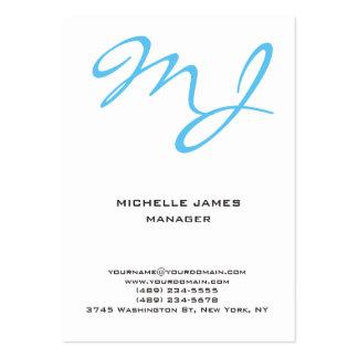 Monograma profesional blanco azul único moderno tarjetas de visita grandes