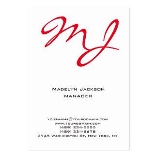 Monograma profesional blanco rojo único moderno tarjetas de visita grandes